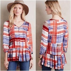 Maeve Lila Tiered Tunic red white blue plaid xs